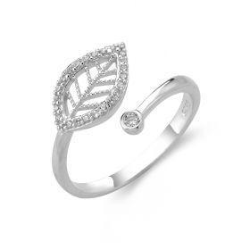 Shiny Leaf Design 925 Sterling Silver Adjustable Open Ring Fine Jewelry for Women