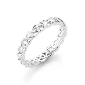 925 Sterling Silver Ring Wedding Band Full Eternity Ring for Women Girls