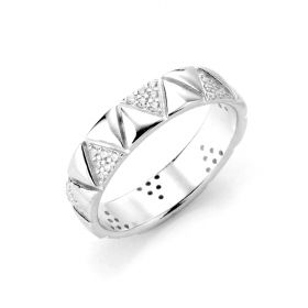 925 Sterling Silver Cubic Zirconia Finger Rings Minimalist Band Fashion Rings
