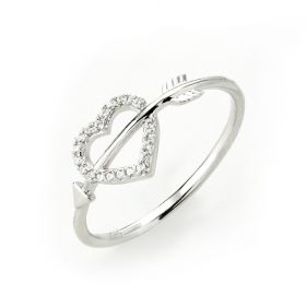 Classic Romantic Arrow Heart Cupid Love 925 Sterling Silver Band Ring