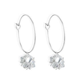 22mm 925 Sterling Silver Round Earring Hoops Unique Shiny Ball Drop