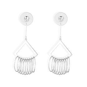 Sterling Silver Triangle Chandelier Earrings Fashion Multi Circle Drops Dangling Earrings