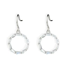 Simple Circle CZ Surrounded Drop Dangle Earrings 925 Sterling Silver