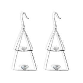 Simple Fashion Double Triangle 925 Sterling Silver Long Dangle Earrings