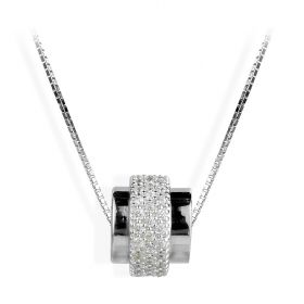 Simple Fashion 925 Sterling Silver Shiny Cylinder Pendant Necklace for Women Girls 16.5 inch