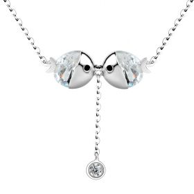 Cute Romantic Sterling Silver Kissing Fish Love Pendant Necklace for Jewelry Gifts