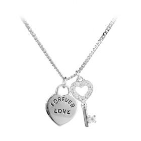 Fashion Lock And Key Heart Pendant Sterling Silver Love Necklace 16 Inches for Lovers