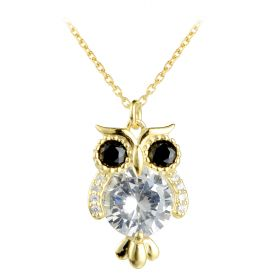 Cute 925 Sterling Silver Cubic Zirconia Owl Bird Pendant Necklace for Teen Girls 16 inch