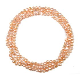 6-7mm, 7-8mm Nugget Pink Freshwater Pearl Rope Strands Necklace