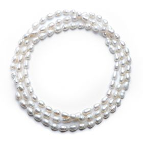 Rice 7-8mm White Freshwater Pearl Strands Rope Necklace