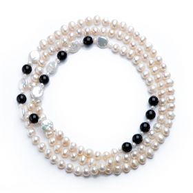 White Freshwater Pearls & Black Agate Opera Necklace