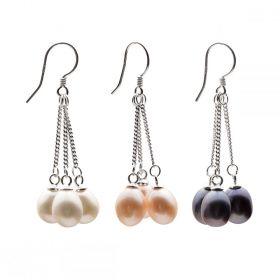 Freshwater Cultured Triple Pearls Dangle Drop Earrings 925 Sterling Silver for Women Girls