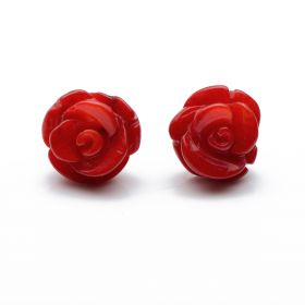 Charming 10mm Carved Rose Flower Red Coral 925 Silver Stud Earrings Gift for Ladies Girls