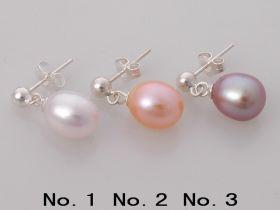 925 Silver Beads Decorating Pearl Earrings Studs 8-9mm Oval Pearl Dangling Earrings