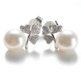 Cute Earrings Heart CZ 925 Silver Freshwater Pearls 7-7.5mm
