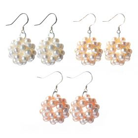 Handmade Ball Shape Potato 5-6mm Freshwater Pearl Cluster Drop Earrings with 925 Silver Hook 3 colors