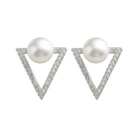 925 Sterling silver triangle shape freshwater pearl earring jewelry with zircon for women