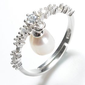 925 Silver Teardrop 6*8mm White Pearl Clear CZ Adjustable Ring