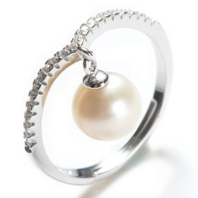 925 Silver Clear CZ Adjustable Ring 7-8mm White Round Pearl