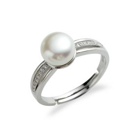 Freshwater pearl with rhinestone 925 Sterling Silver ring setting jewelry for women