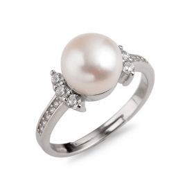 8.5-9mm Bread Freshwater Cultured Pearl 925 Silver Zircons Ring Sweet