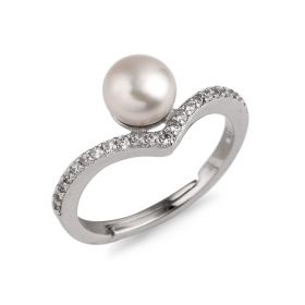 6.5-7mm Bread Freshwater Cultured Pearl Ring 925 Silver Zircons Inlaid Adjustable