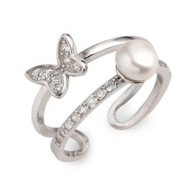 Bread Freshwater Cultured Pearl Little Butterfly 925 Silver Zircon Studded Opening Style Ring