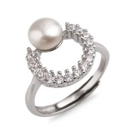 6.5-7mm Freshwater Cultured Pearl Adjustable Ring 925 Silver CZ Women Fashion Jewelry