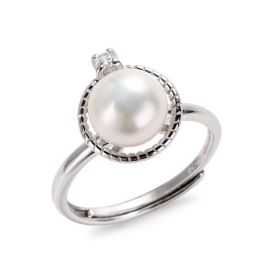 8-9mm White Bread Pearl 925 Silver Women Fashion Fine Jewelry Engagement Rings