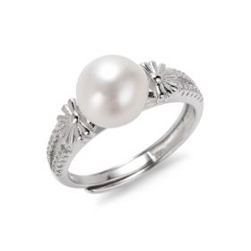 925 Sterling Silver Favorable Rings Jewelry with White Bread Freshwater Pearl for Women Adjustable