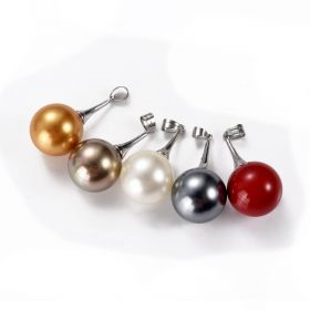 16mm Round Shell Pearl Copper Pendant Gray/Red/Gold/Brown/White Multi Color
