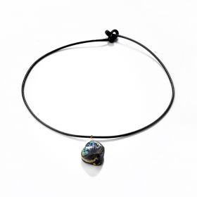Blue Abalone Paua Shell and Small Pearl Pendant Black Leather Necklace Chain 18 inch
