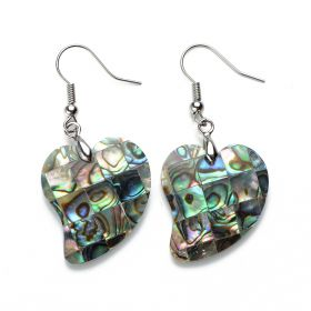Heart Charm Paua Abalone Shell Earrings for Ladies Unique Jewelry Natural Abalone Shell Stone