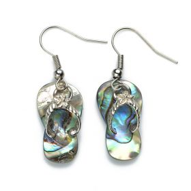 Chic Slipper Charm Abalone Shell Earrings Ladies Jewelry