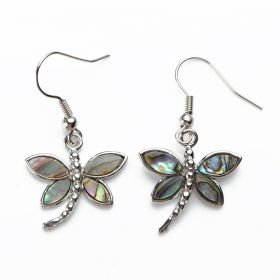 Unique Dragonfly Abalone Shell Earrings Charm Ladies Jewelry