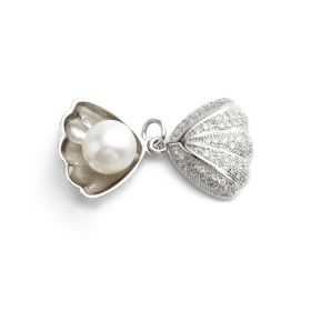 Shell-shaped Sterling 925 Silver 8-9mm Round White Pearl Pendant SPJ160