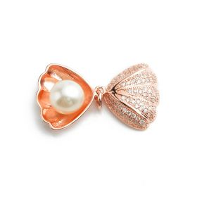 Shell-shaped Rose Gold Sterling 925 Silver 8-9mm Round White Pearl Pendant SPJ162