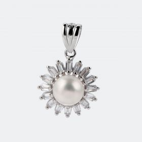 Shiny 925 Sterling Silver Sunflower Pendant with Single Pearl Fine Jewelry Gift for Women
