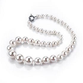 Multi Size White Shell Pearls Hand Knotted Tower Necklace 21 inch