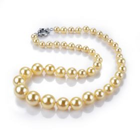 Yellow Round Shell Pearl Hand Knotted Strand Necklace 20.5 inch