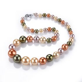Multi Color Round 8-12-16mm Shell Pearl Graduated Necklace 21 inch