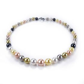 Hand Knotted Multi Color Shell Pearls Strand Necklace for Women