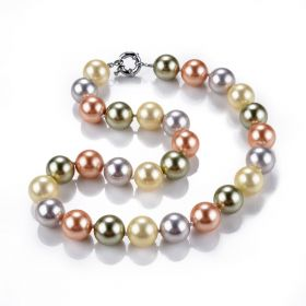 Hand Knotted Mix Color Shell Pearl 14mm Strand Necklace for Women 18""