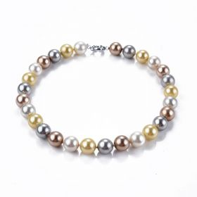 14mm Multi Color Round Shell Pearl Hand Knotted Necklace 17.5 inch