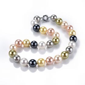 Large 14mm Shell Pearl Handmade Knotted Strand Necklace Multi Colors 18""