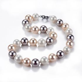 14mm White Pink Grey Multi Color Shell Pearl Necklace DIY Jewelry 18 inch