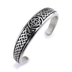 Classic Antique Stainless Steel Open Cuff Bangle Bracelet Punk Jewelry