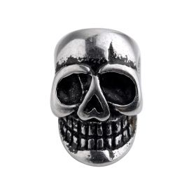 Stainless Steel Beads Big Hole Charms Vintage Black Enamel Rock Skull Beads for DIY Jewelry Making