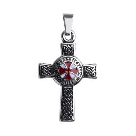 Antique Stainless Steel Men's Biker Cross Pendant without Chains