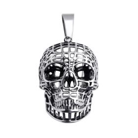 Men's Rock Style Decoration Hollow Skull Stainless Steel Pendant for Jewelry Gift
